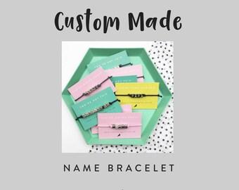 Personalised Name Bracelet - Beaded Word Bracelet - Silver Letter Bracelet - Design Your Own - Friendship Bracelet
