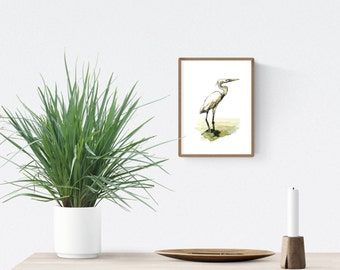 "4 x 6 watercolor print, egret nature art, Florida bird beach house wall decor | 4"" x 6"" in. print (10.1 x 15.24 cm)"