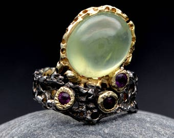 Prehnite & Amethyst  Ring  925  Sterling Silver Handmade One Of A Kind
