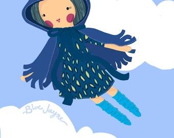 Blue Jayne Illustration, Children's Room Decor, Rosey Rag Doll, Poster