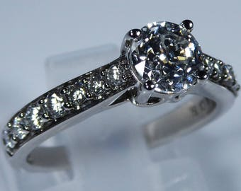"""IGI Certified """"Forever"""" 18k White Gold 1.00ct Diamond Accent Engagement Ring"""