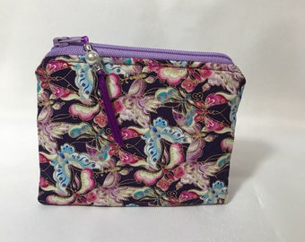 Butterfly Butterflies with Gold Coin Purse, Pouch, Mini Wallet