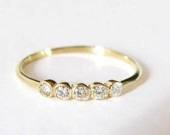 Diamond Band Ring, Thin Diamond Band, Dainty Diamond Ring, Diamond Engagement Ring, Anniversary Band, Diamond Wedding Ring, Wedding Band