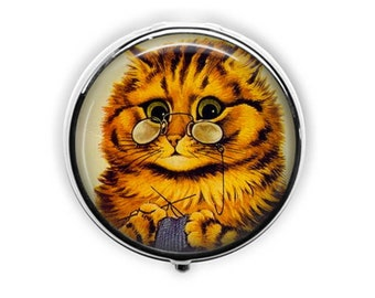 Louis Wain cat pill box, knitting pill case, cat lover gift for knitter, cat wearing glasses stash box, cat art trinket box.