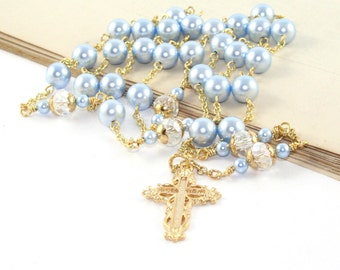 Christian Wedding Rosary Necklace, Blue & White Swarovski® Pearls, Gold Cross