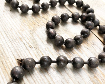9.5mm Patina'd Solid Brass Huge Chunky Ball Chain, Oxidized Chunky Bead Chain, Hand Antiqued Brass Chain