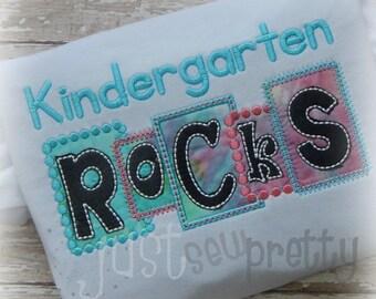 Kindergarten Rocks Blocks Embroidery Applique Design
