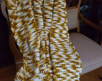 Vintage homemade crochet afghan brown, white, and golden yellow