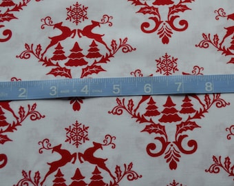 Christmas Fabric, White with Red Reindeer, Christmas Tree Fabric, Winter Material-Quilting, Clothing, Crafts - Cotton Yardage, By The Yard