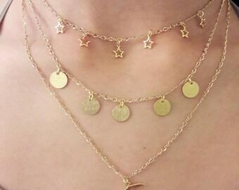 Adjuatable, Handmade, Gold filled, sun, moon, stars charm choker