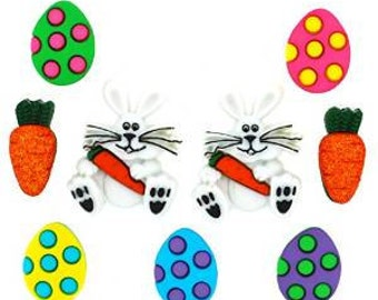 SET of 9 Easter Bunny and Accessories Sewing Button Collection Shank/ Hoop Buttons
