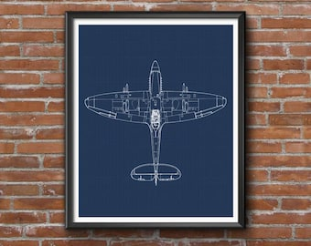 """Spitfire Blueprint, Supermarine Spitfire, Aircraft Blueprint, Instant Download, Spitfire Wall Art, Aviation Art, Blueprint, 8x10"""", 11x14"""""""