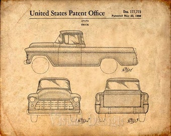 Chevy Truck Patent Print Chevrolet Truck Patent Art Print