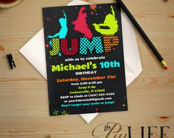 Neon Jump Birthday Invitation Printable DIY No. I255