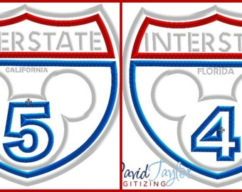 WDW and DL Interstate 4 and 5 Sign - 2 designs-4x4, 5x7, 6x10, 8x8 in 9 formats - Applique - Instant Download - David Taylor Digitizing