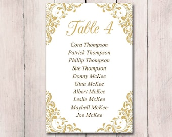 """Gold Wedding Seating Card Template - Table Chart Wedding """"Jenna"""" Wedding Printable Table Card Instant Download Seating Chart Card - 4x6 Cut"""