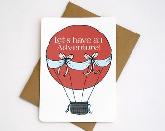 Adventure Balloon Notecards in Coral, Light Blue, Brown and Cream - Set of 3, 6 or 10 Flat Notecards and Kraft Envelopes