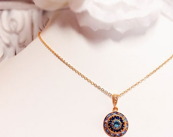Blue Rhinestone Necklace - Jewelry Gift - Something Blue - Crystal Necklace - AURORA Glacier Blue