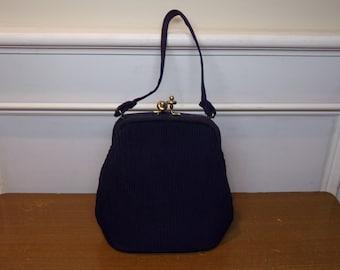Vintage 1940's/1950's  Navy Blue Handbag