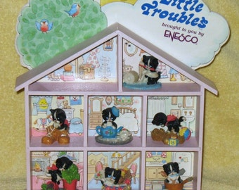 RARE Vintage Enesco Little Troubles shelf with Figurines
