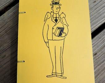 Recycled book cover sketchbook, journal, yellow notebook, vintage book, handmade sketchbook