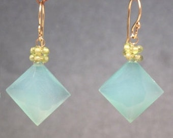 Peridot with Sea Blue Chalcedony Earrings Victorian 246
