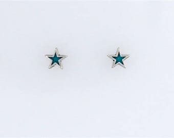 Sterling Silver Turquoise Star Post or Stud Earrings