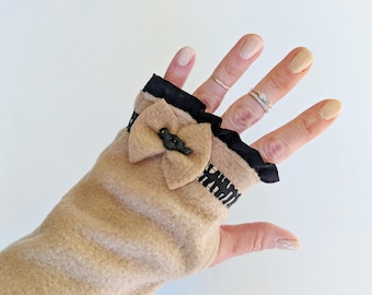 Unique Fingerless Gloves, Birthday Gift Womens, Black and Tan Fingerless Mittens with Bird Buttons and Bows, Arm Warmers, Half Finger Gloves