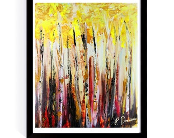 Abstract painting of BIRCH TREE FOREST
