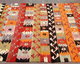 Vintage orange and black Kilim rug, 101.5'' x 70'',  rug, Turkish kilim rug, Colorful area rug, Bright colored kilim rug, area Rugs, rug,505