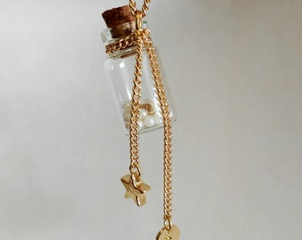 Glass bottles Necklace, Golden heart in Class vial, plated  Golden Chain, Star,  Personalized Initial Charm Necklace Gift for Best friend