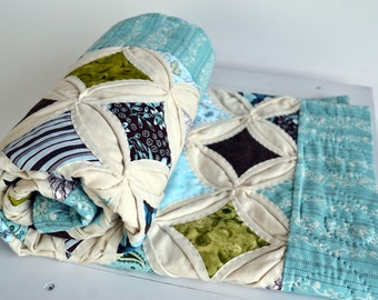 Cathedral Window Quilt Ready to Ship Seaside Inspired Color Theme  Hand Quilted