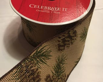 Rustic pinecone evergreen burlap wired ribbon 2.5inches wide 25 ft. long