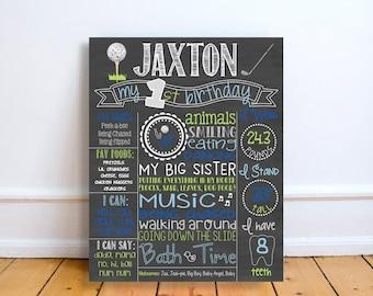 Golf First Birthday Chalkboard Sign  - Birthday Chalkboard Poster - Golf Birthday - Chalkboard sign - Custom Birthday Sign - hole in one