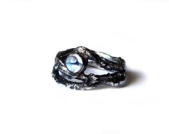 Flash and Fire Blue Moonstone Wrap Ring
