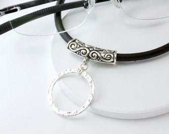 Tibetan Silver Eyeglass Lanyard, Eyeglass Chain, Lanyard, Leather Eyeglass Holder, Leather Eyeglass Loop, Eyeglass Necklace,lanyard necklace