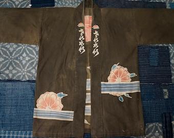 Unique japanese kimono with exotic graphics antique