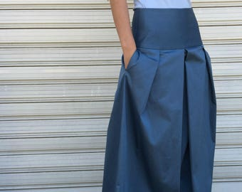 Maxi Cotton Skirt /  Blue Women Long Skirt / Loose Skirt / Party Skirt / Maxi Skirt / EXPRESS SHIPPING