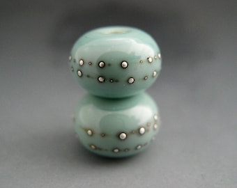 Naos Glass GLOSSY Celadon Pair Made To Order Handmade Lampwork Beads SRA Copper Green