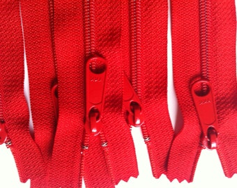 Five Tomato Red 24 Inch 4.5 Ykk Purse Zippers with a Long Handbag Pull Color 819