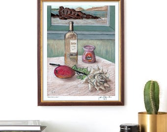 """Limited Edition Art Print, """"Salud, dinero y amor"""", Signed and numbered, 8"""" x 10"""", Vine, Rose, Mango, Wall Decor, Housewarming gift idea"""