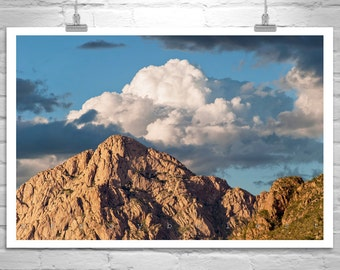 Tucson Arizona Mountain Art, Desert Photography, Sky and Clouds, Southwestern Art, Western Picture, Tucson Gift, Arizona Gift, Desert Art