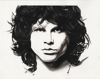 Jim Morrison - 9x12in. Original Watercolor Painting