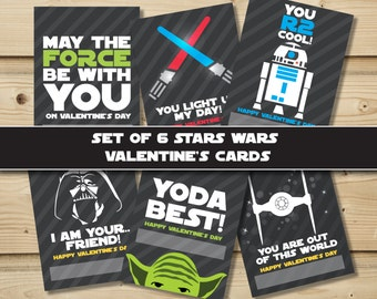Set of 6 Star Wars Valentine's Cards- Printable