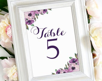 Table Number Cards 1 through 30 | Vintage | Eggplant Script | Purple Blooms | 4 x 6 | Set of 30 | Instant Download