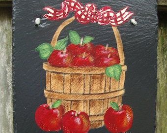 Painted Slate - Basket with Apples *Personalized No Charge*