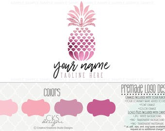 Premade Logo & Watermark Pink Logo Pineapple Logo Fruit Logo Food Logo Watercolor Logo