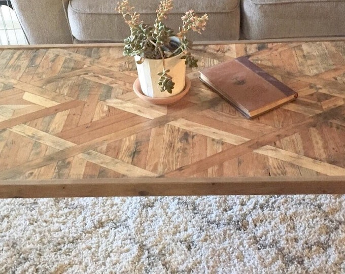 Featured listing image: Art Deco / Western style coffee table hairpin legs rustic repurposed lath wood Mid-Century