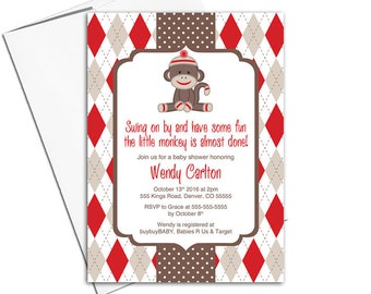 sock monkey baby shower invitation gender neutral baby shower invites, argyle and polkadots, red and brown - PRINTED - WLP00759