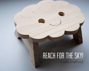 happy cloud step stool kitchenstool -  Reach for the sky -  wooden chair childrens room bathroom kitchen  potty train step-up